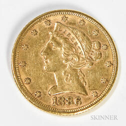 1886 $5 Liberty Head Gold Coin