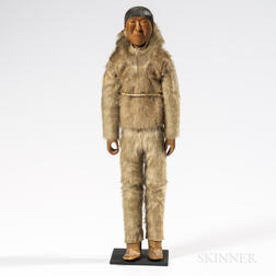 Eskimo Carved Wood Doll