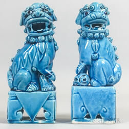 Pair of Turquoise Shishi Lions