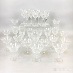 Thirteen St. Louis Champagnes and Fourteen St. Louis Water Glasses.     Estimate $300-500