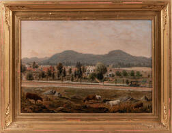 American School, Late 19th Century      Country Landscape with Greek Revival House