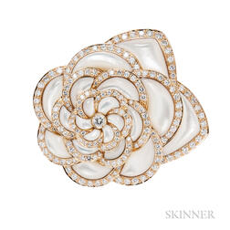 18kt Gold, Mother-of-pearl, and Diamond Brooch