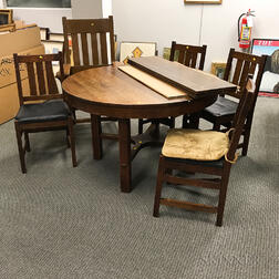 Arts and Crafts Oak Dining Table, Set of Four Side Chairs, and Two Armchairs.     Estimate $300-500