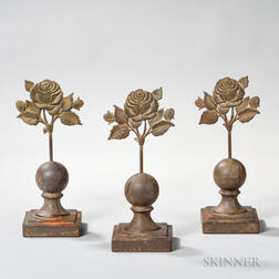 Three Cast Iron Fence Finials