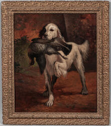 Joseph Malachy Kavanagh (Ireland/France, 1856-1918)      Hunting Dog with Grouse