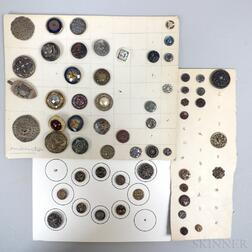 Small Group of Stamped Metal, Beaded, and Enameled Buttons