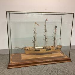 Cased William Hitchcock Carved and Painted Ship Model of The Flying Cloud