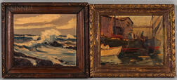 Attributed to Giragos Der Garabedian (American, 1892-1980)      Two Framed Oil Paintings: Rockport Harbor
