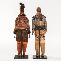 Pair of Greenland Eskimo Carved Wood Dolls