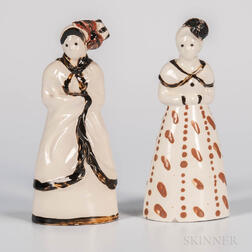 Two Staffordshire Creamware Figures of Women