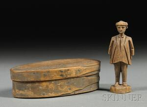 Small Painted Covered Box Containing a Carved Wooden Figure of a Man