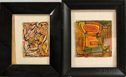Two Alexander Gore (Russian/American, b. 1958) Mixed Media Works and a Jacob Landau (New Jersey, 1917-2001) Figure Study.