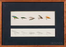 Five Framed Fly-fishing Flies and Design Sketches by Eric Flachbart