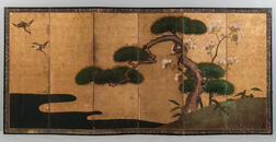 Pair of Kano School Screen Paintings