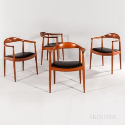 "Four Hans J. Wegner for Johannes Hansen ""The Chair"" Armchairs"