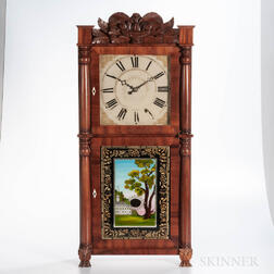 Ephraim Downs Eight-day Carved Splat Shelf Clock