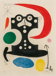 Joan Miró (Spanish, 1893-1983)      Monument to Christopher Columbus and to Marcel Duchamp