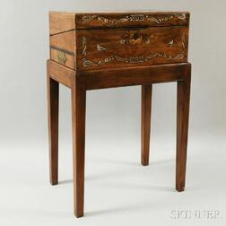 Chinese Export Mother-of-pearl Inlaid Hardwood Box with Stand