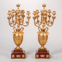Pair of Neoclassical-style Gilt-bronze Five-arm Candelabra