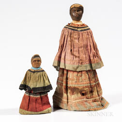 Two Seminole Wood Dolls
