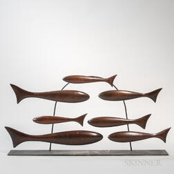 Teak School of Fish Mantel Sculpture