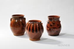 Three Manganese- and Line-decorated New England Redware Jars