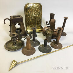 Eleven Wood and Metal Lighting Devices.     Estimate $200-250