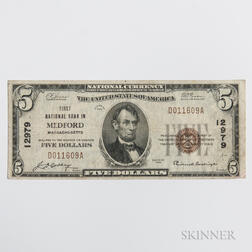 1929 The First National Bank in Medford Type 1 $5 Note