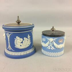 Two Wedgwood Jasper Biscuit Jars