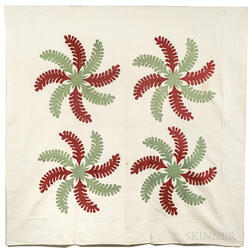 """Hand-sewn """"Princess Feather"""" Quilt"""