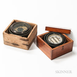 Two 5-inch Cased Gimbaled Ship's Compasses