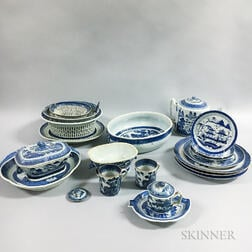 Twenty-one Canton Porcelain Tableware Items