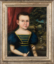 American School, First Half 19th Century      Portrait of a Boy in Blue Dress Holding a Whip