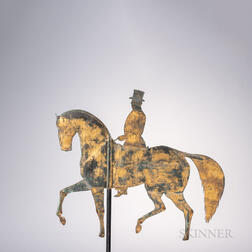 Sheet Copper Formal Horse and Rider Silhouette Weathervane