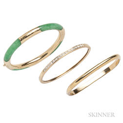 Three 14kt Gold Bangles