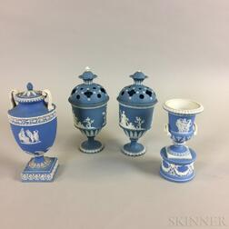 Four Blue Jasper Ceramic Urns