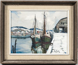 Otis Pierce Cook (American, 1900-1980)      Two Vessels at a Snowy Wharf