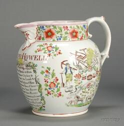 Pink Lustre Decorated Farmer's Arm's Jug