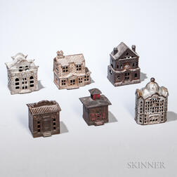 Six Small Cast Iron Architectural Still Banks