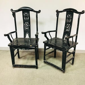 Pair of Black-painted Yoke-back Armchairs
