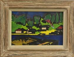 American School, 20th Century      Modernist Lakeshore View in Summer