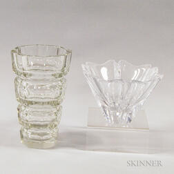 Orrefors Colorless Glass Bowl and a Vase
