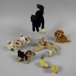 Small Group of Steiff Articulated Domestic Animals.     Estimate $200-300