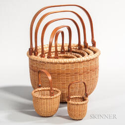 Set of Seven Nesting Nantucket Baskets