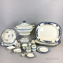 Nineteen Pieces of Blue and White Pearlware Tableware