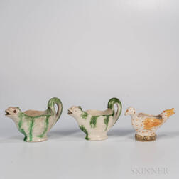 Three Staffordshire Earthenware Figural Sauceboats