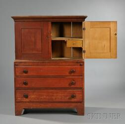 .Shaker Pine, Poplar, and Maple Red-stained Desk