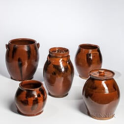 Five Manganese-decorated Ovoid New England Redware Jars