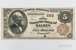 1882 The First National Bank of Malden Brown Back $5 Note