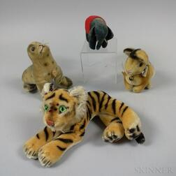 Small Steiff Elephant, Seal, Tiger, and Rabbit